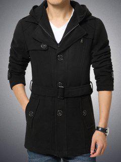 Button Embellished Zippered Hooded Belted Coat - Black L