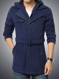 Button Embellished Zippered Hooded Belted Coat - Cadetblue 4xl