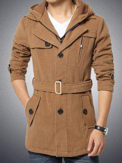 Button Embellished Zippered Hooded Belted Coat - Khaki M