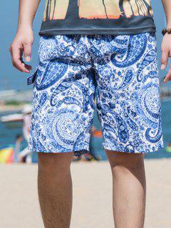 Drawstring Waist Paisley Printed Board Shorts - Blue 3xl
