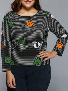 Plus Size Stripe Star Emoji Print Long Sleeve T-Shirt - Black 2xl