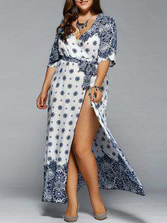 Plus Size Boho Print Flowy Beach Wrap Maxi Dress - White Xl