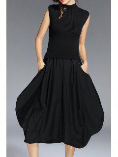 Sleeveless Knit Baggy Dress - Black S
