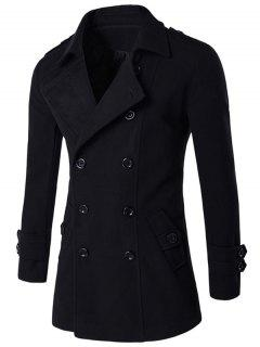 Slit Back Epaulet Design Long Sleeve Peacoat - Black M