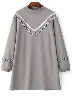 Mock Neck V Pattern Sweatshirt Dress - Gray S