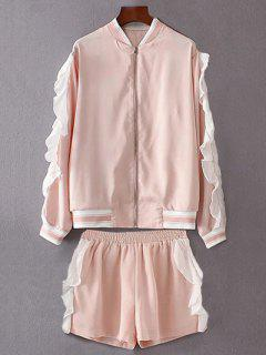Flounced Stand Neck Jacket With Shorts - Pink S