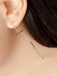 Long Bar Pendant Earrings - Golden