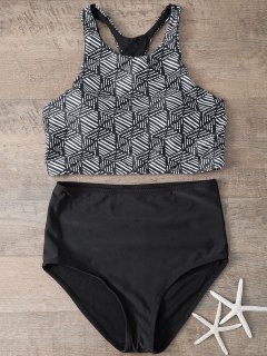 Printed High Waisted Bikini Set - Black S