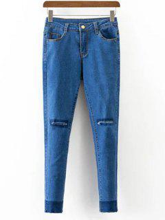 Bolsillos Jeans Gastados Estrecha Pies - Azul S