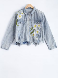Flower Embroidered Long Sleeve Denim Jacket - Light Blue