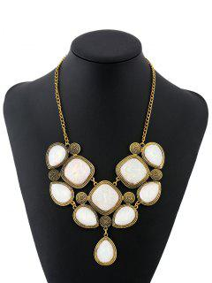 Carved Shell Geometric Necklace - White