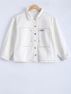Blanc à Manches Longues Veste En Jean - Blanc S