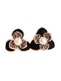 Flower Faux Pearl Rhinestrone Stud Earrings - Black