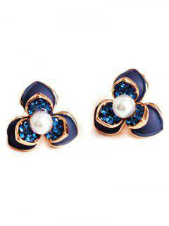Flower Faux Pearl Rhinestrone Stud Earrings - Deep Blue