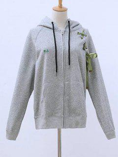 Lace Up Zip Up Hoodie - Gris