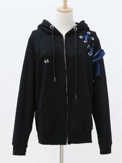 Lace Up Zip Up Hoodie - Black