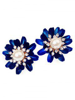 Faux Pearl Rhinestone Flower Stud Earrings - Deep Blue