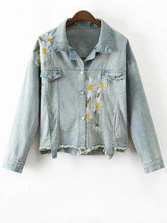 Daisy Brodé Frayed Denim Jacket - Bleu Clair M