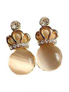 Faux Opal Crown Stud Earrings - Light Brown