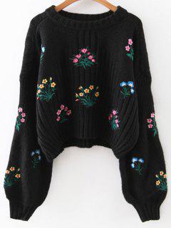 Tiny Floral Bestickte Pullover - Schwarz