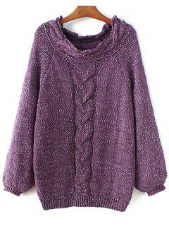 Cable Knit Long Sleeve Pullover Sweater - Purple