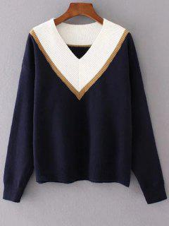 Color Block V Neck Sweater - Bleu Violet