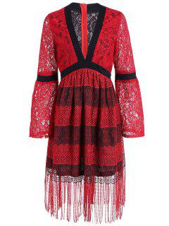 Deep Plunge Long Sleeve Flapper Dress - Red M