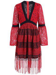 Plongeant à Manches Longues Flapper Dress - Rouge M