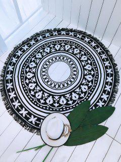 Bohemian Print Tassels Circle Cover Up - Black