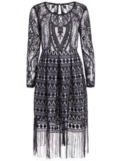Long Sleeve Fringed Lace Midi Dress - Black M
