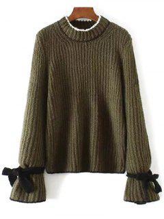 Conrtast Trim Crew Neck Sweater - Army Green