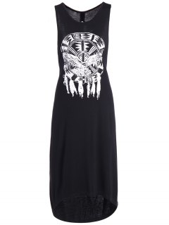 Printed Cutout High Low Hem Tank Dress - Black S