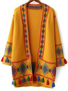 Argyle Jacquard Fringes Long Cardigan - Earthy