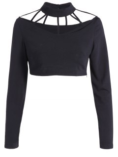 Long Sleeve Choker Crop Top - Black M