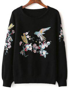 Bird Floral Embroidered Sweater - Black