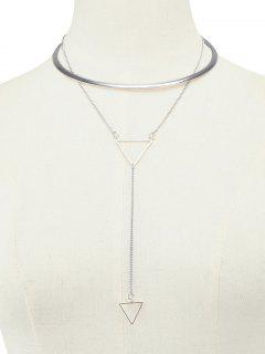 Layered Alloy Triangle Choker Necklace - Silver