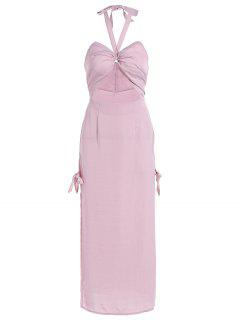 Cut Out High Slit String Halter Prom Dress - Nude Pink L