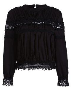 Lace Inset Chiffon Blouse - Black S