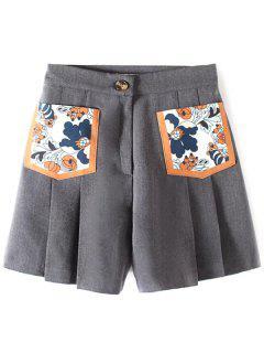 Plisado Bolsillo De Parche Pantalones Cortos - Gris S