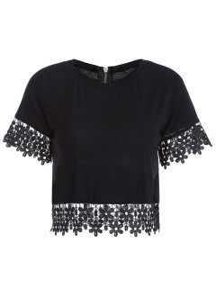Crochet Flower Jewel Neck Short Sleeve T-Shirt - Black Xl