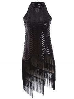 Tassels Sequins Party Dress - Black