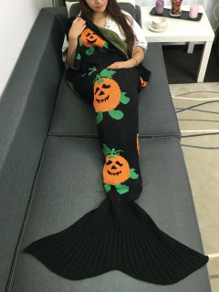 Halloween Pumpkin Multicolor Crochet Knitting Mermaid Tail Style Blanket - Black