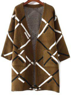 Argyle Pockets Cardigan - Coffee
