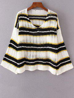 Striped V Neck Sweater - White + Black + Yellow