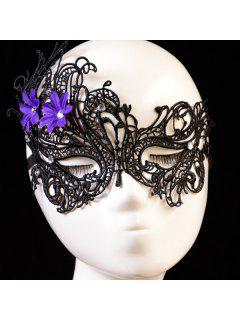 Rhinestone Floral Elastic Hair Band Party Mask - Black