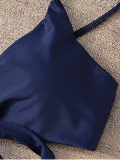 fancy Floral Print Halter Wrap Bikini Set - PURPLISH BLUE M Mobile
