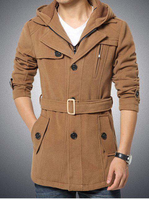 lady Button Embellished Zippered Hooded Belted Coat - KHAKI M Mobile