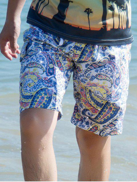 Tunnelzug Paisley Printed Board Shorts - Gelb L Mobile