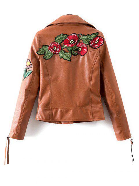Floral Patchwork Biker Jacket - Brun S Mobile