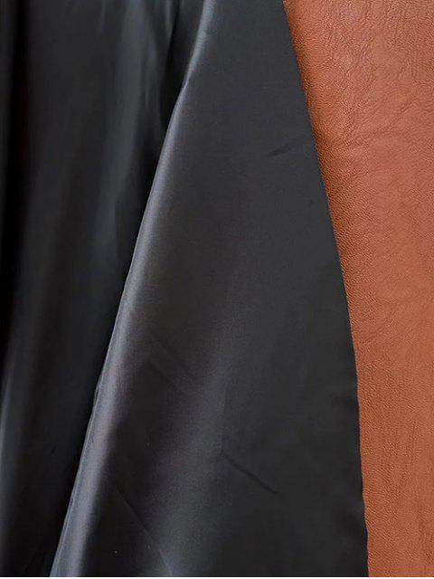 best Floral Patchwork Biker Jacket - BROWN M Mobile
